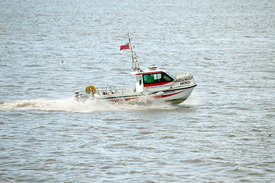 Bristol Ports INVESTIGATOR hurries past Battery Point. 30th July 2013.