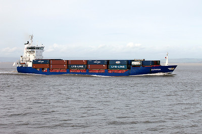 J R Shipping's ELEVATION passes the point for Avonmouth from Bilbao to discharge and load containers, she will depart the next day for Liverpool. Saturday 30th October 2010.