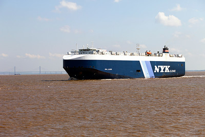 Having discharged it's cargo of cars NYK Lines' OPAL LEADER, IMO9318498 departs from Portbury on the morning tide. Tuesday 1st July 2014.