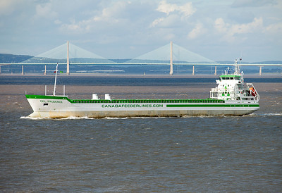 Canada Feeder Lines' CFL PRUDENCE leaves Avonmouth on the afternoon tide. She arrived on Monday 16th August 2010 from Klaipeda with a cargo of Urea Fertilizer and is putting to sea for orders. Wednesday 18th August 2010.