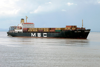MSC MARIA arrives off Battery Point heading for Portbury Dock from Antwerp to discharge and load containers. Thursday 22nd July 2010.