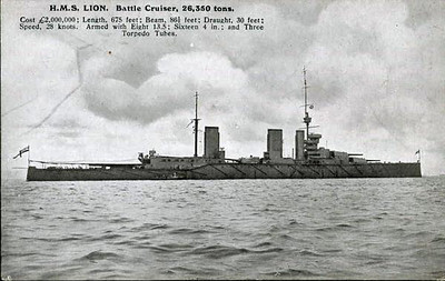 The battle cruiser HMS Lion. She was the lead ship of the Lion Class battle cruisers, and was built in 1910 and commissioned in 1912. She fought at a few major engagements in World War 1, the Battle of Heligoland Bight, the Raid on Scarborough, Battle Of Dogger Bank and Battle Of Jutland where she would have been sunk had her Q Turret not have been flooded. After Jutland she had a relatively quiet remainder of the war, and was placed in reserve in 1920 and struck off in 1922. She was sold for scrap in 1924.