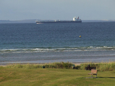 Tanker lying offshore in the Moray Firth off Nairn