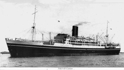 The RMS Canton, a cruise liner of P&O, built for the run to India and the Far East mail services. She was used during WW2 as HMS Canton (F97) and was an armed merchant cruiser, and later a troop transporter. My gradfather served on her during this time. She was built in 1938 by Alexander Stephen & Sons and was requisitioned in 1939 for wartime service. She was armed with a variety of old six inch guns for this, and continued as an AMC until 1944 when she was converted to a troopship, and returned to P&O in 1947. She returned to working the routes to India and the Far East until withdrawn and sold for scrap in 1962.