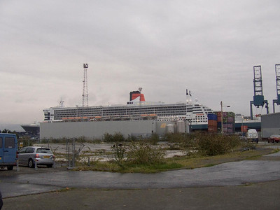 The Queen Mary 2 as seen from Grey Place in Greenock