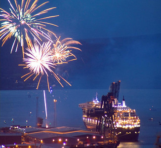 Firework display to mark the departure of the Queen Mary 2 from Greenock