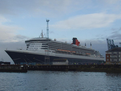 Queen Mary 2 at Greenock Ocean Terminal as seen from the Esplanade