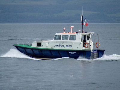 The Clydeport pilot boat Mount Stuart after having left the coastguard station at Princes Pier and heading down the river