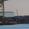 The Barclay Curle Titan crane at the former shipyard at Whiteinch in Glasgow. Here the Police Scotland helicopter lands at the new Glasgow City Heliport at Govan.