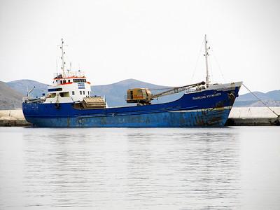 General cargo ship PANTELIS KOUMIANOS, IMO 5283695, waiting to load stone at Pothia Harbour, Kalymnos. Thursday 29th May 2014.