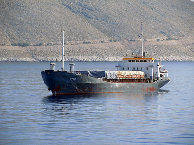 General freighter JOUDI, IMO 7321441. Off Kalymnos, Thursday 29th May 2014.