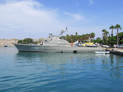 Hellenic Navy Patrol Boat P286, DIOPOS ANTONIOU Kos Harbour. Tuesday 27th May 2014.