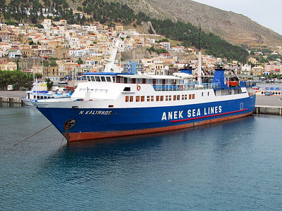 Anek Sea Lines ferry NISOS KALYMNOS, IMO 8704212, Pothia Harbour, Kalymnos. Thursday 29th May 2014.