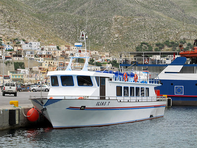 Mastihari - Pothia ferry ILIAS.T at Pothia Harbour. Thursday 29th May 2014.