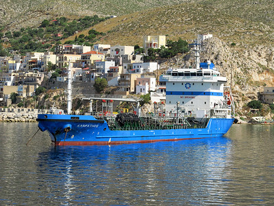 Aegean Marine's bunkering tanker KARPATHOS, IMO 9382140, Pothia Harbour, Kalymnos. Thursday 29th May 2014.