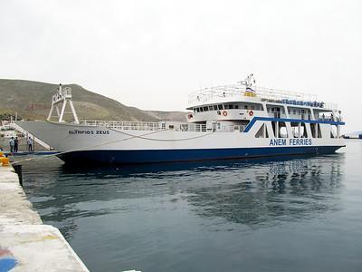 Anem Ferries' vehicle ferry OLYMPIOS ZEUS, IMO 8969020. Pothia Harbour, Kalymnos. Thursday 29th May 2014.