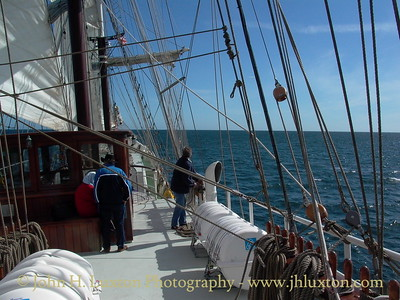On board the passenger barque ARTEMIS off teh coast of the Isle of Man - May 29, 2005. The vessel was operating a series of coastal cruises from the Island during the TT Festival Period.