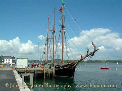 The KATHLEEN & MAY the world's last surviving topsail schooner visiting Youghall, County Cork seen here on August 95, 2002, shortly after restoration had been completed at Bideford, north Devon.
