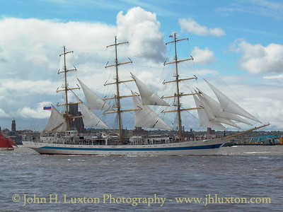 STS MIR is seen on the RIver Mersey - putting to sea after the Mersey River Festival Parade of Sail on June 20, 2004.