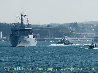 HMS ENTERPRISE (H88) Returns to Devonport - April 18 , 2017