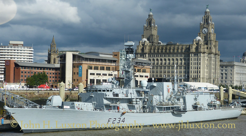 HMS ION DUKE [F234] seen alongside Liverpool Cruise Terminal on June 24, 2017. The ship was visiting Liverpool for Armed Forces Day 2017 and the Mersey River Festival.