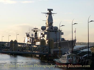 HMS PORTLAND (F79) at Liverpool Cruise Terminal - January 17, 2014