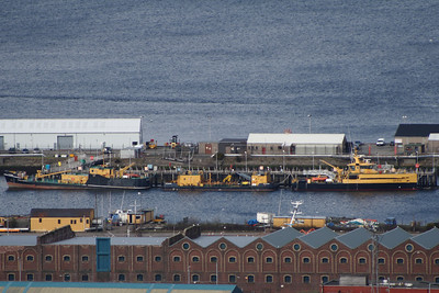 The barges SD Waterman and SD Oilman berthed at the RMAS base at Greenock's Great Harbour along with the SD Eva