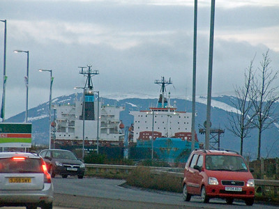 Maersk Maine with sister ship Maersk Maryland laid up in The Great Harbour, Greenock as seen from the re-routed A8 that runs through the former Lithgow's Glen Yard