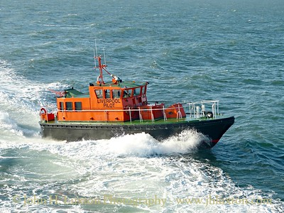 On Saturday August 29 Mersey Pilot PV KITTEWAKE rendezvoused with the Isle of Man Steam Packet Company's MANANNAN on her 16:30 sailing from Douglas to Liverpool for a training exercise. She is seen here approaching the port side at the Liverpool Bay pilot station.