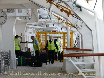 BLACK WATCH: Loading luggage at QEII Terminal Southampton - Saturday April 10, 2010