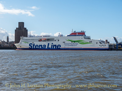 STENA EDDA seen alongside Twelve Quays Terminal at the south berth which has been equipped with a upper deck vehicle loading facility for the ship.
