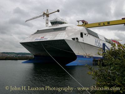 HSS STENA DISCOVERY laid up at Belfast on June 23, 2007. She had been withdrawn from the Harwich - Hoek service the previous winter. She was sold on Venezuelan interests in autumn 2009.