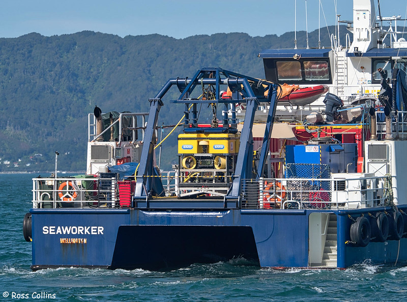 'Seaworker' departing from Seatoun Wharf, 28 January 2019