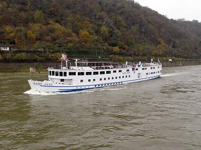 Cruise ship LADY ANNE, MMSI 700841, passing Sankt Goar. Thursday 20th November 2014.