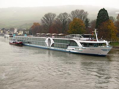 Cruise ship ALINA, MMSI 269057367 berthed at Rudesheim. Thursday 20th November 2014.