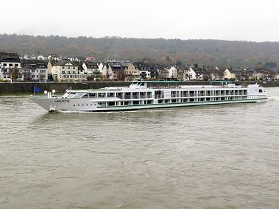 French registered LAFAYETTE cruise ship heads upstream near Koblenz. Thursday 20th November 2014.