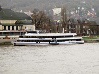 Sightseeing boat VATER RHEIN berthed at Bigen. Thursday 20th November 2014.
