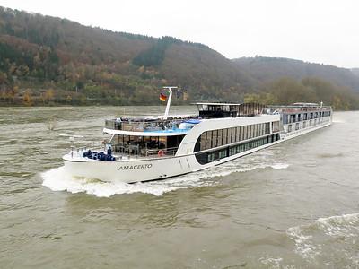 Cruise ship AMACERTO, MMSI 269057394. heading upstream near Sankt Goar. Thursday 20th November 2014.