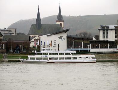 Sightseeing boat BINGEN berthed at Bigen. Thursday 20th November 2014.
