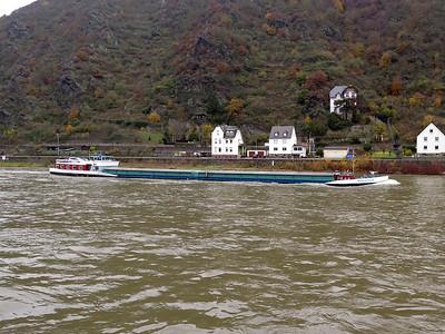 SIGUENZA, MMSI 205355890, heading upstream near Sankt Goarshausen. Thursday 20th November 2014.