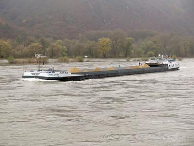 Barge VITA DURA MMSI 205303490 with a cargo of gravel southbound near Bingen. Thursday 20th November 2014.