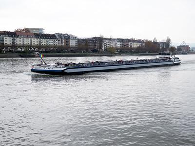 Tanker ST .RITA heads up stream past Mainz. Wednesday 19th November 2014.