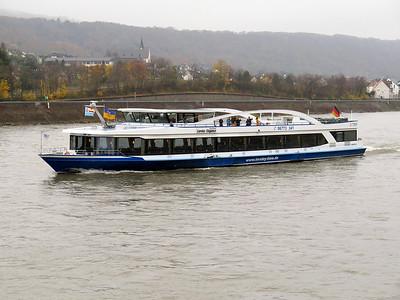 Sightseeing vessel LORELEY ELEGANCE heading upstream. Thursday 20th November 2014.