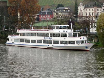 Sight seeing boat EHRENFELS, MMSI 211518020 berthed at Rudesheim. Thursday 20th November 2014.