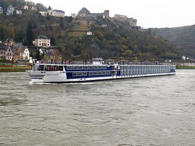 Cruise ship RIVER SPLENDOR, MMSI 211599600, passes beneath Rheinfels Castle at Sankt Goar heading upstream. Thursday 20th November 2014.