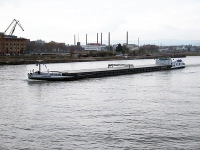 Cargo barge POSSIDI, MMSI 244690396 passing Mainz up stream. Wednesday 19th November 2014.