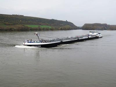Tanker FRANCONIA, MMSI 211547860 heads up stream on the Rhine near Gernsheim. Wednesday 19th November 2014.