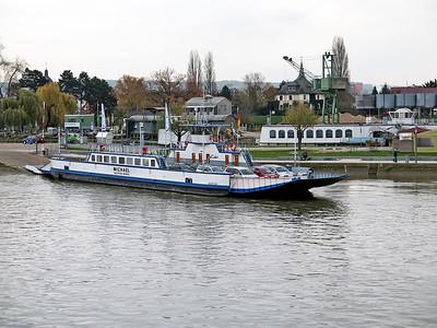 Cross river Ferry MICHAEL which runs between Oestrich-Winkel and Ingelheim is seen loading at Ingelheim. Wednesday 19th November 2014.