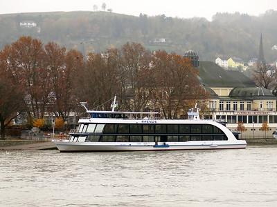 Sightseeng boat RHENUS berthed at Bingen. Thursday 20th November 2014.