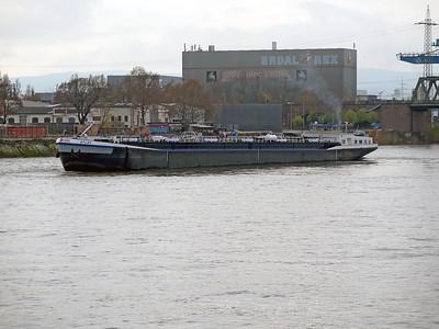 Tanker ATLAS, MMSI 205206590 passing Mainz up stream. Wednesday 19th November 2014.